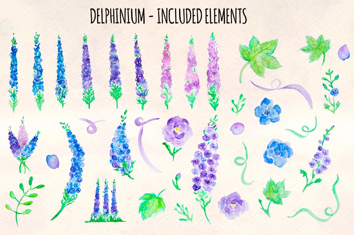 37 Delphinium Flower Hand Painted Watercolour Elements example image 2