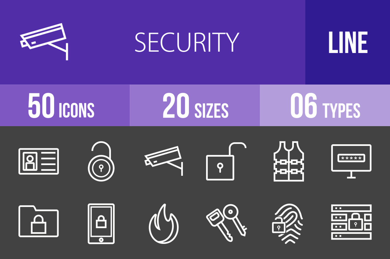50 Security Line Inverted Icons example image 1