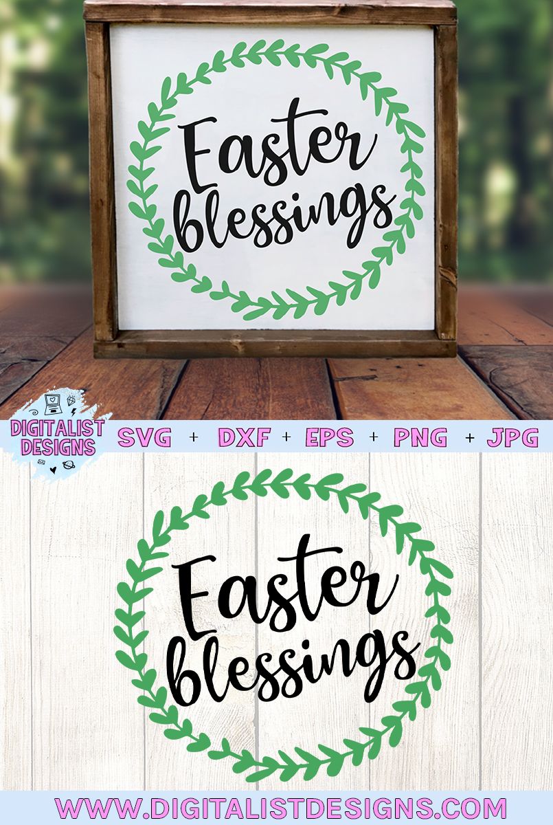 Easter Blessings SVG, Easter SVG, Wreath SVG example image 3
