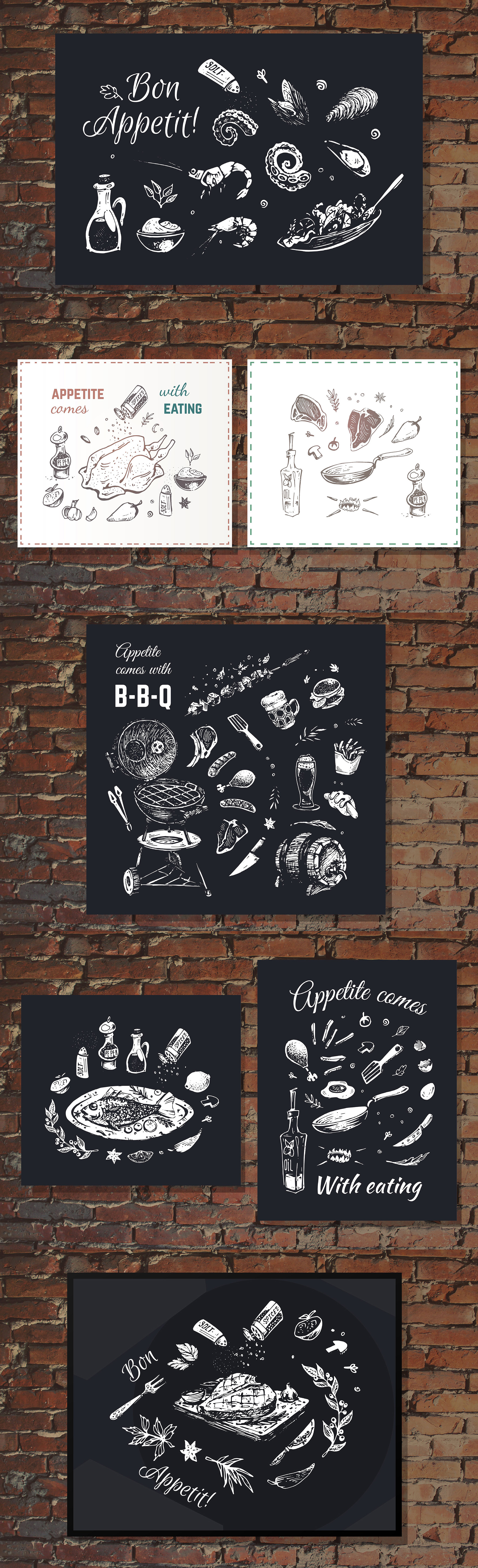 Hand drawn cooking and food icons example image 28