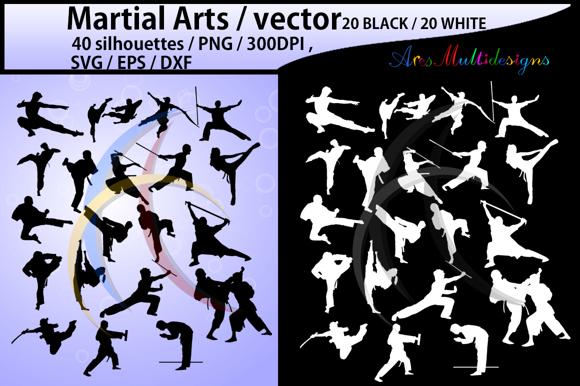 Martial arts SVG / High Quality /Martial art silhouette / Martial arts cliparts / karate silhouette/ silhouette /300 DPI / EPS / PNg/ DXf example image 1