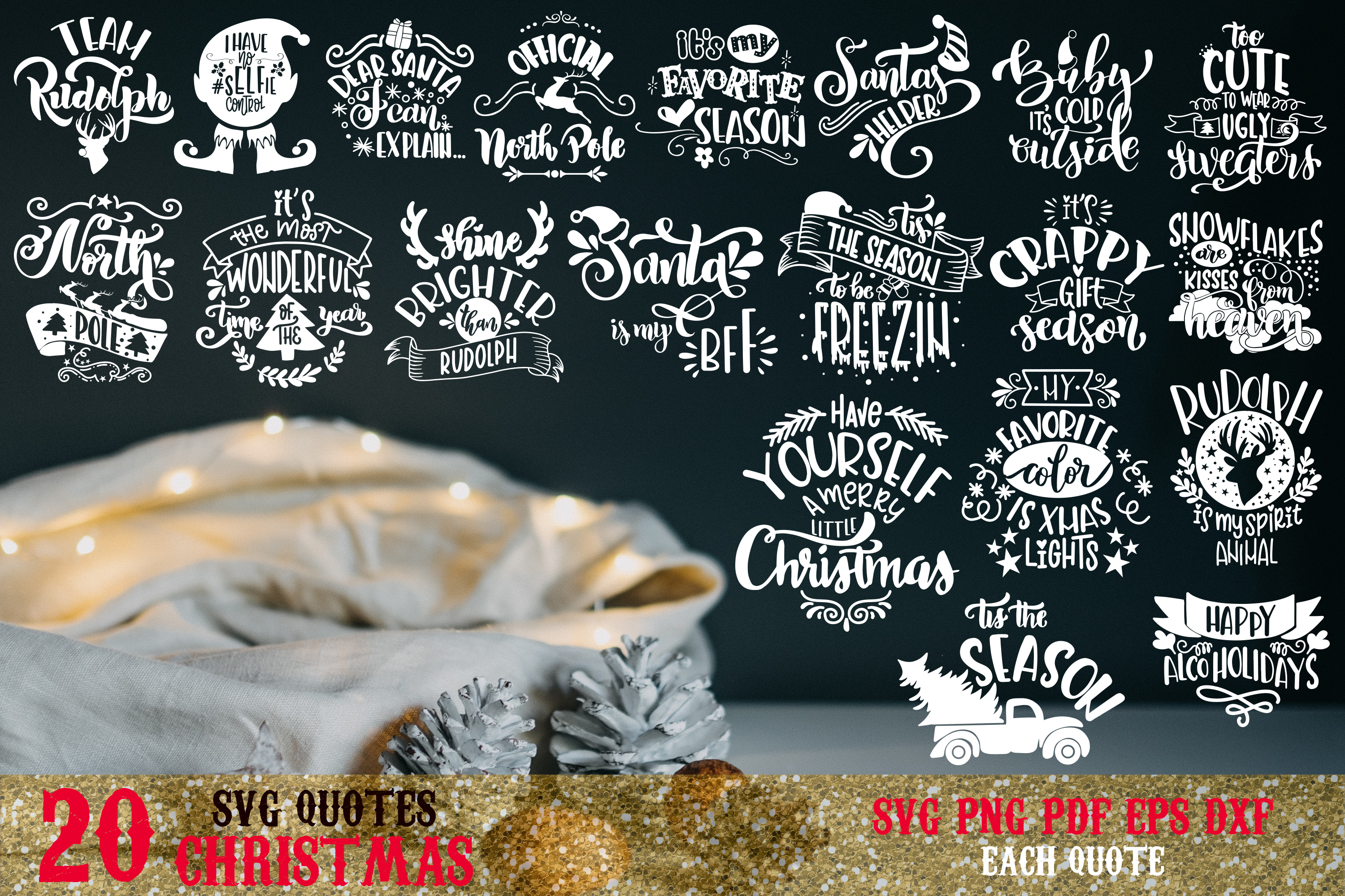 Christmas svg BUNDLE BIG set of 60 quotes example image 3