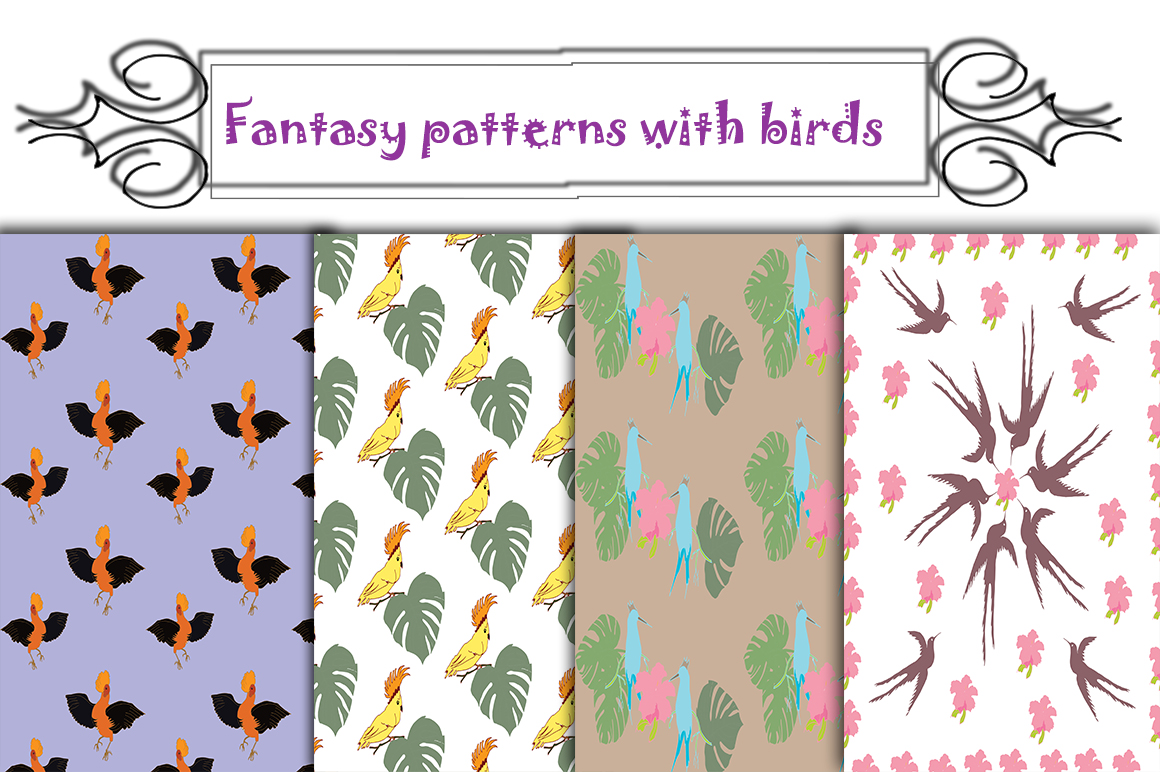 Fantasy Patterns with Birds example image 1