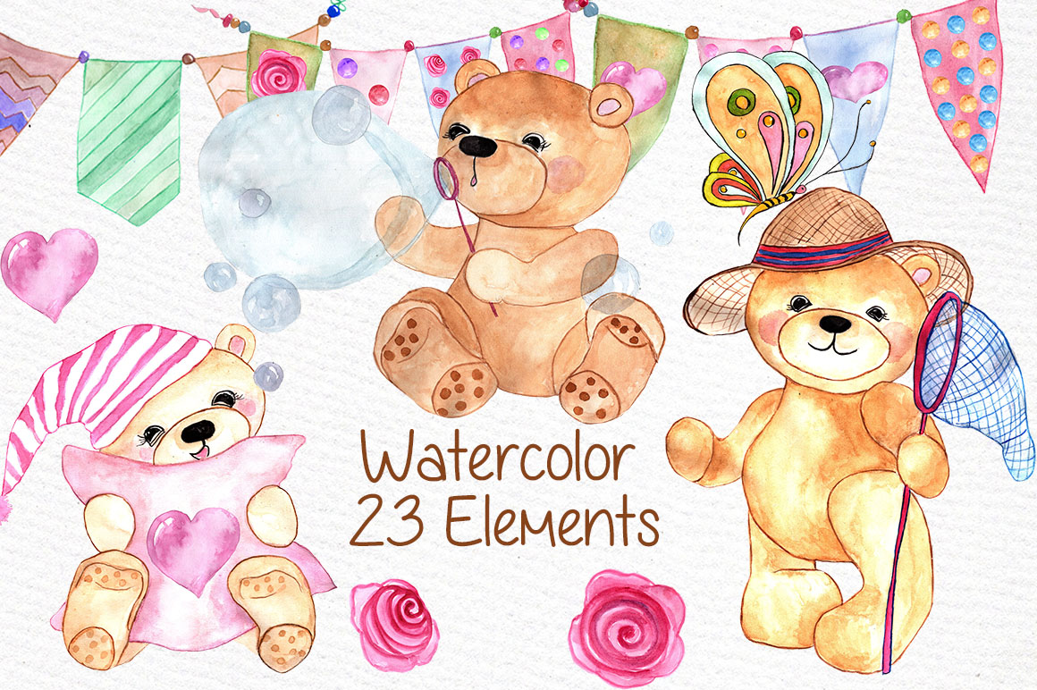 Watercolor teddy bear clipart example image 1
