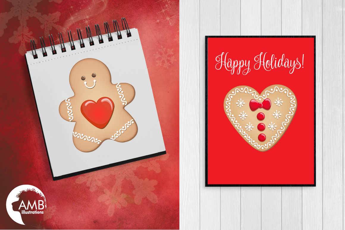 Christmas Cookie Clipart, GRAPHICS, ILLUSTRATIONS AMB-1502 example image 5