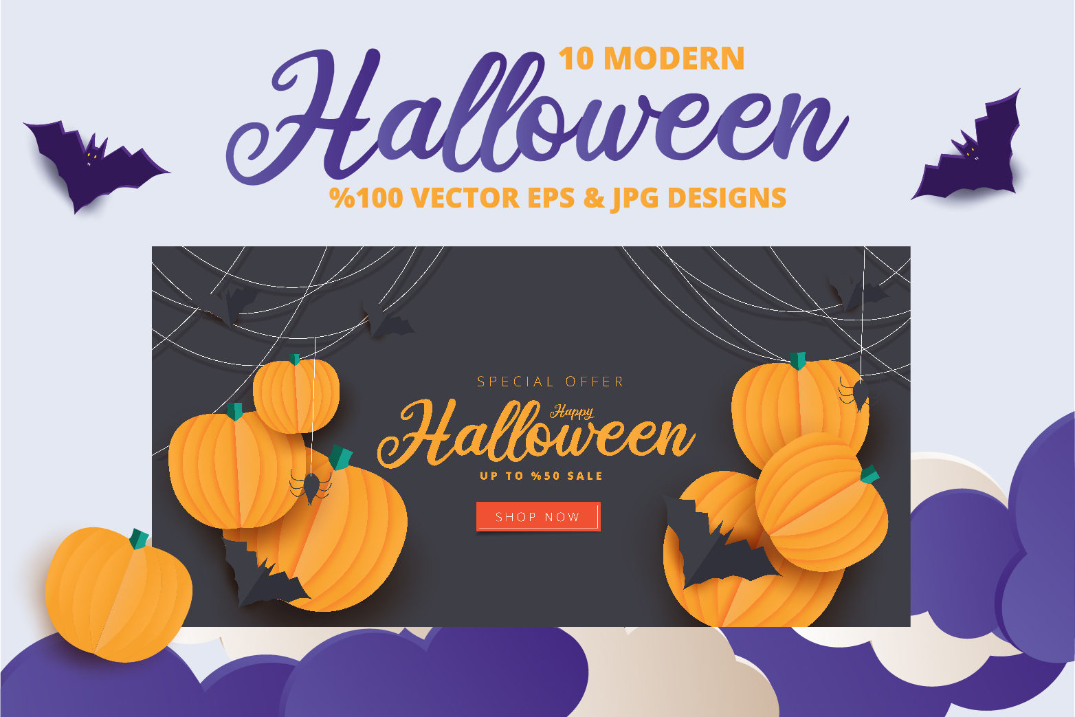 Halloween Sale header or banner design and invitation flyer example image 4