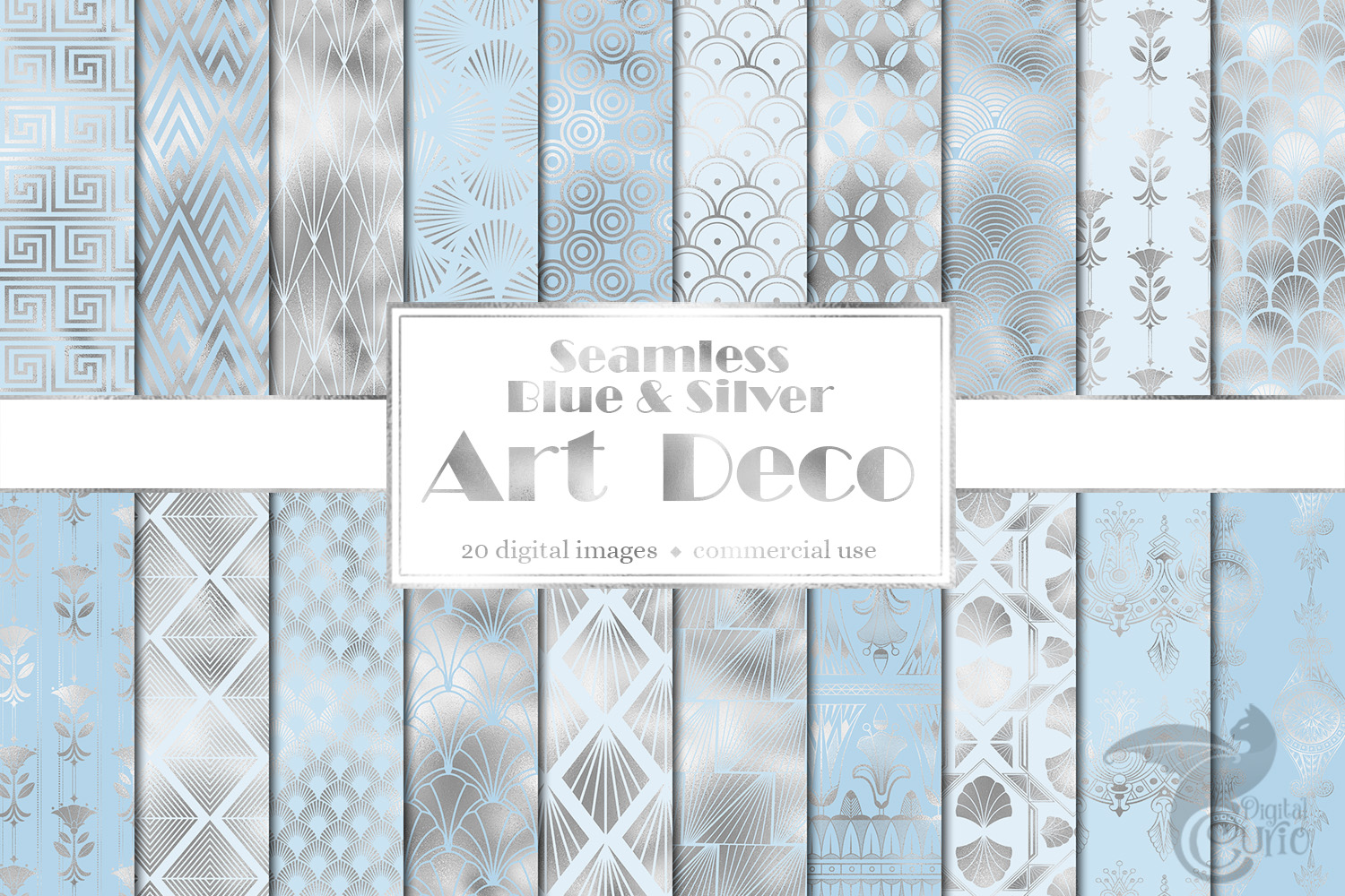 Blue and Silver Art Deco Digital Paper example image 1