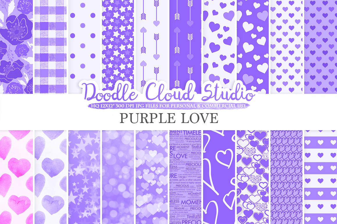 Purple Romantic digital paper, Valentine's day Lilac patterns Love Romance Heart Bokeh background Instant Download Personal & Commercial Use example image 1