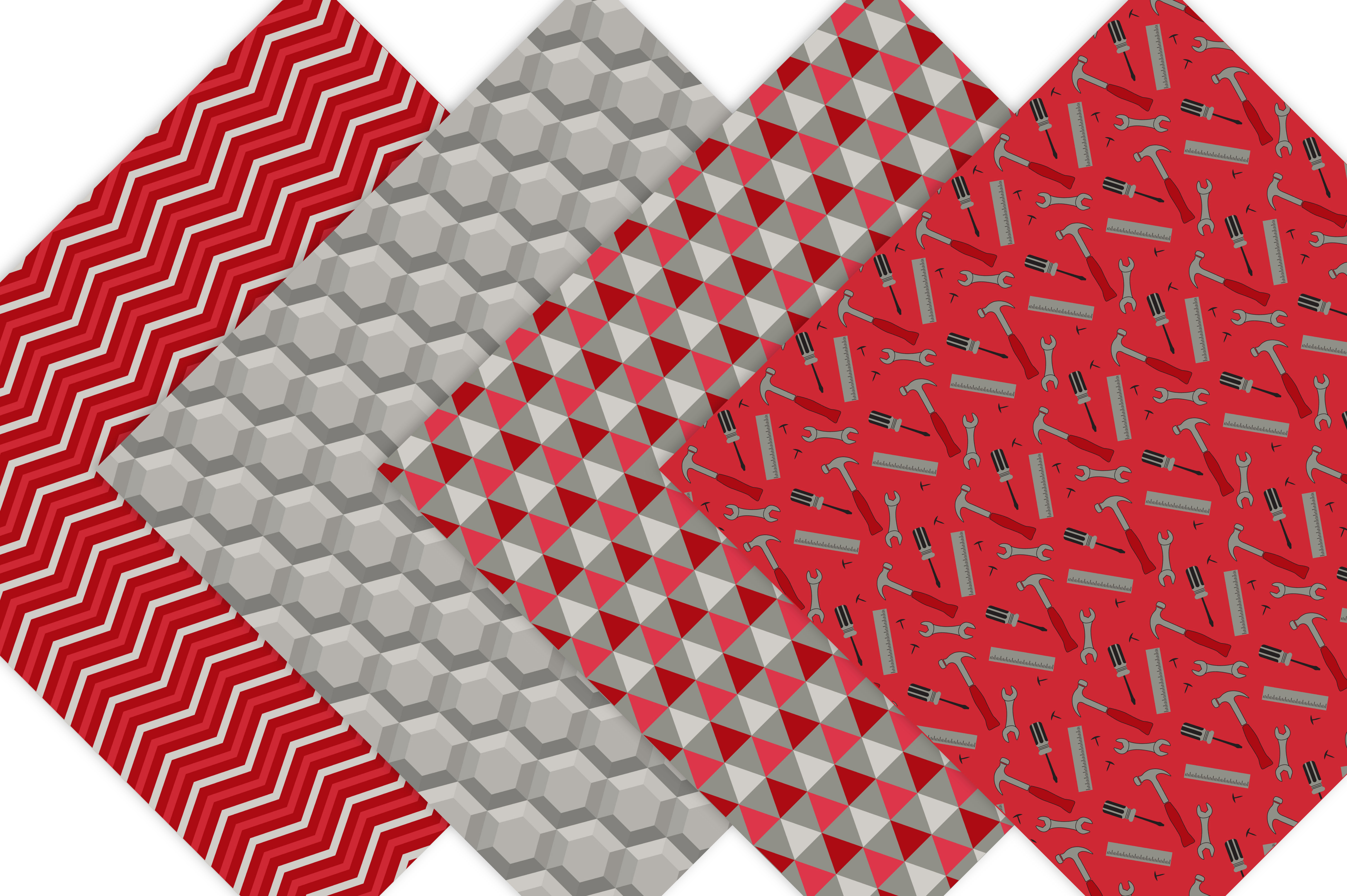 Father's Day Digital Paper Patterns - Red example image 5