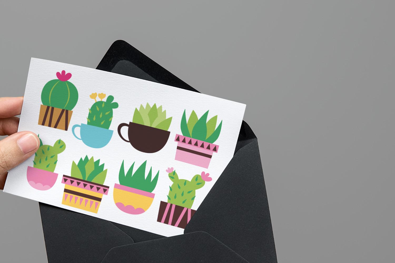 Succulent cactus clip art illustrations bundle example image 10