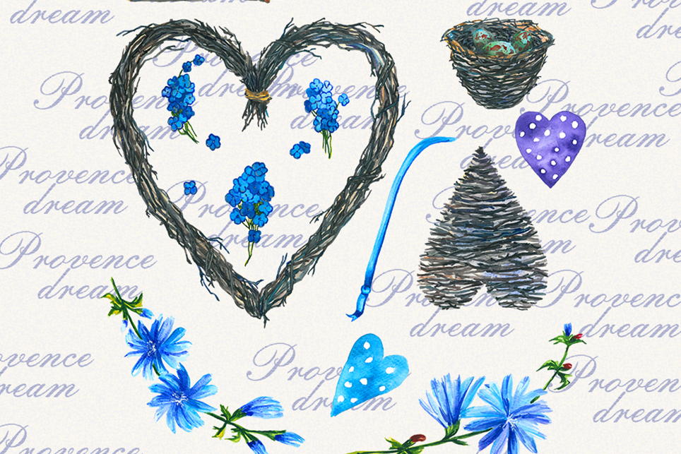 Lavender Clipart, Watercolor floral clipart, Love clipart example image 3