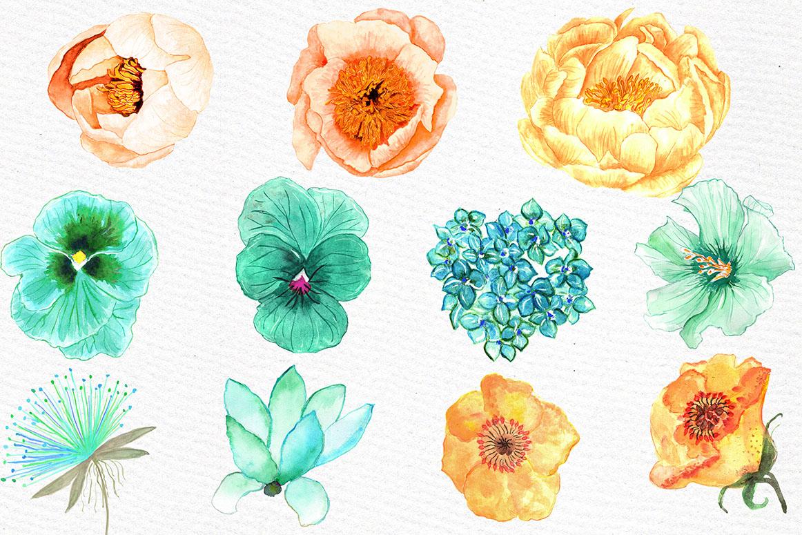 Orange Mint flowers clip art example image 2