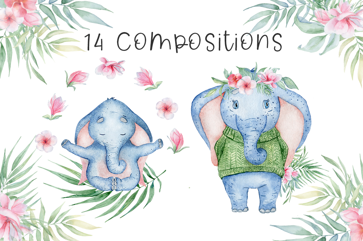 Lovely Elephants Watercolor set animals clipart example image 7