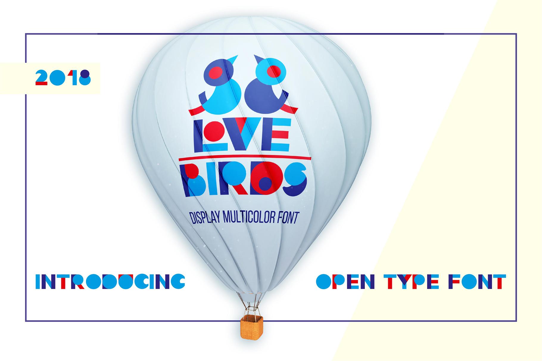 LOVE-BIRDS multicolor font example image 1