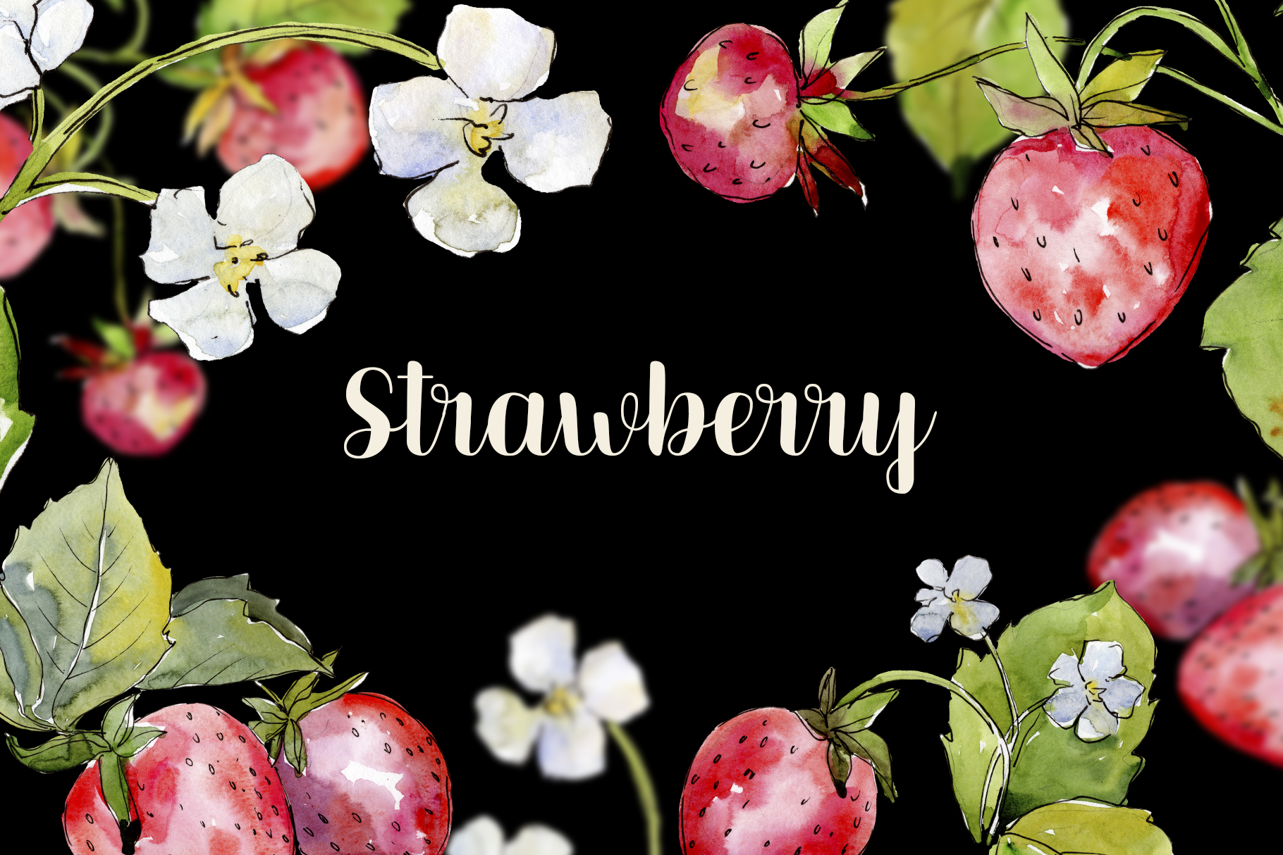 Sweet Watercolor Strawberry PNG example image 7