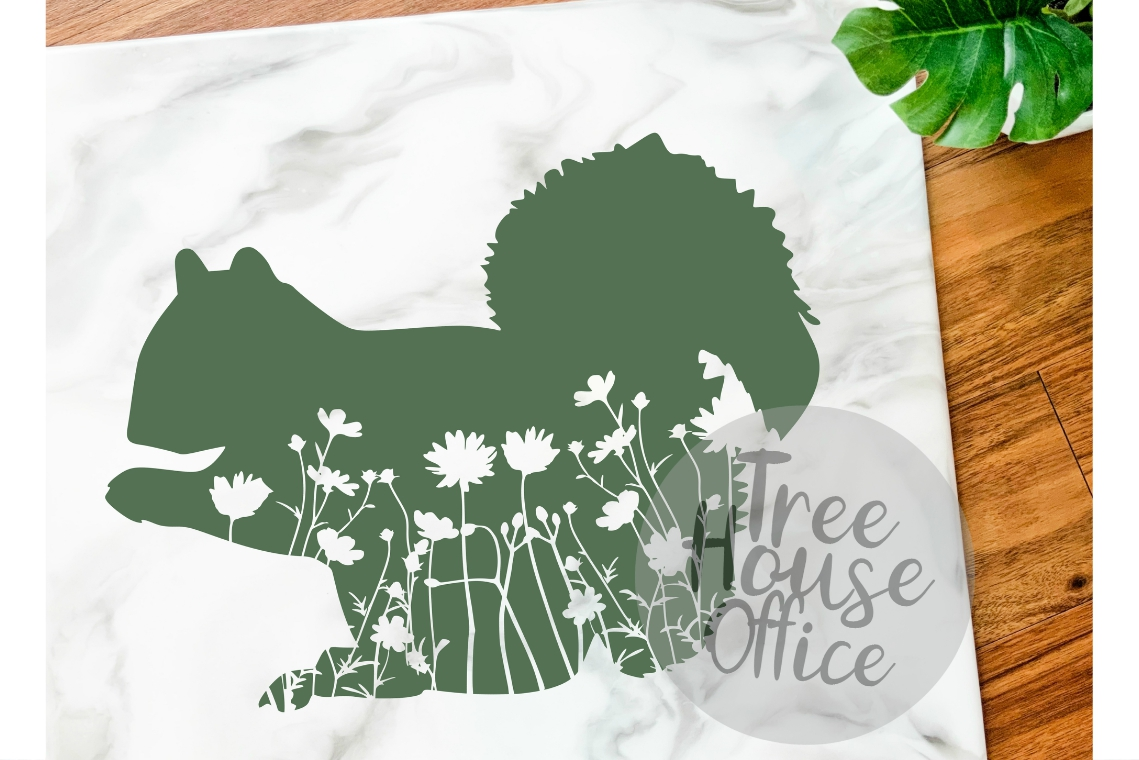 Floral Squirrel Mandala Forest Zentangle Flower SVG/DXF/PNG example image 1
