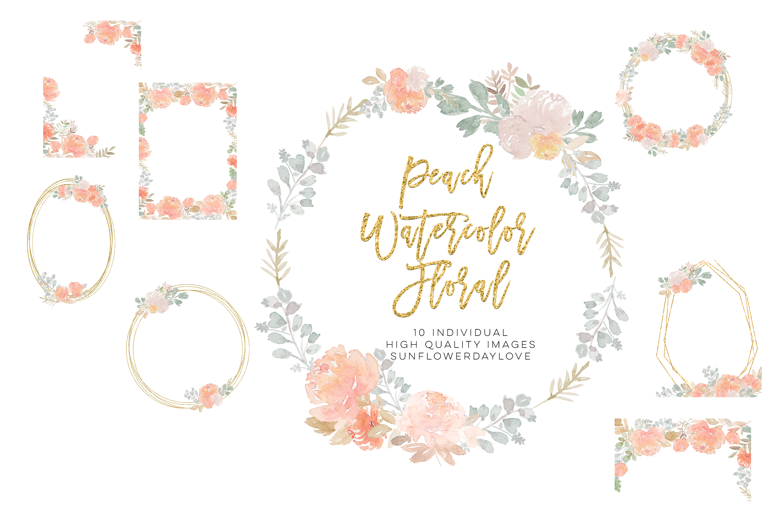fall floral clipart, Dusty Rose Pink Peach Watercolor Floral example image 3