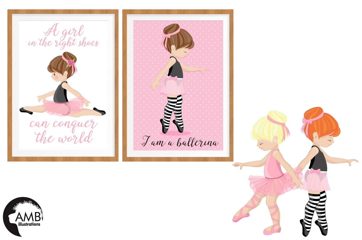 Ballerina clipart and paper BUNDLE, graphics and illustrations AMB-130678 example image 2