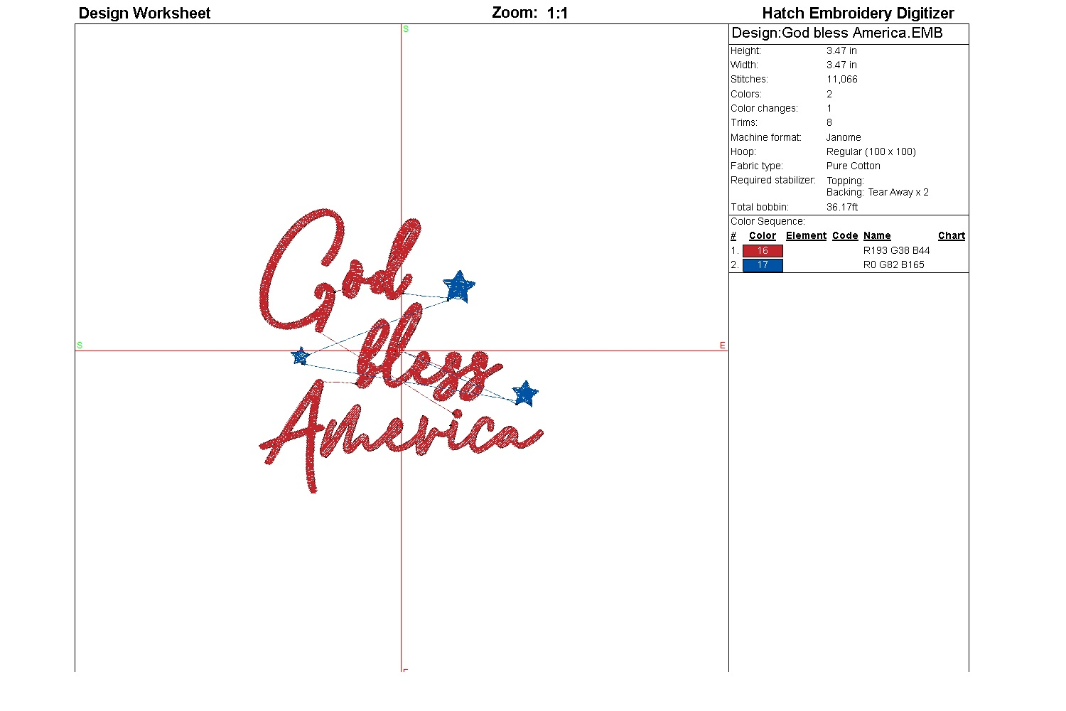 God bless America| Independence day | Machine embroidery| example image 2
