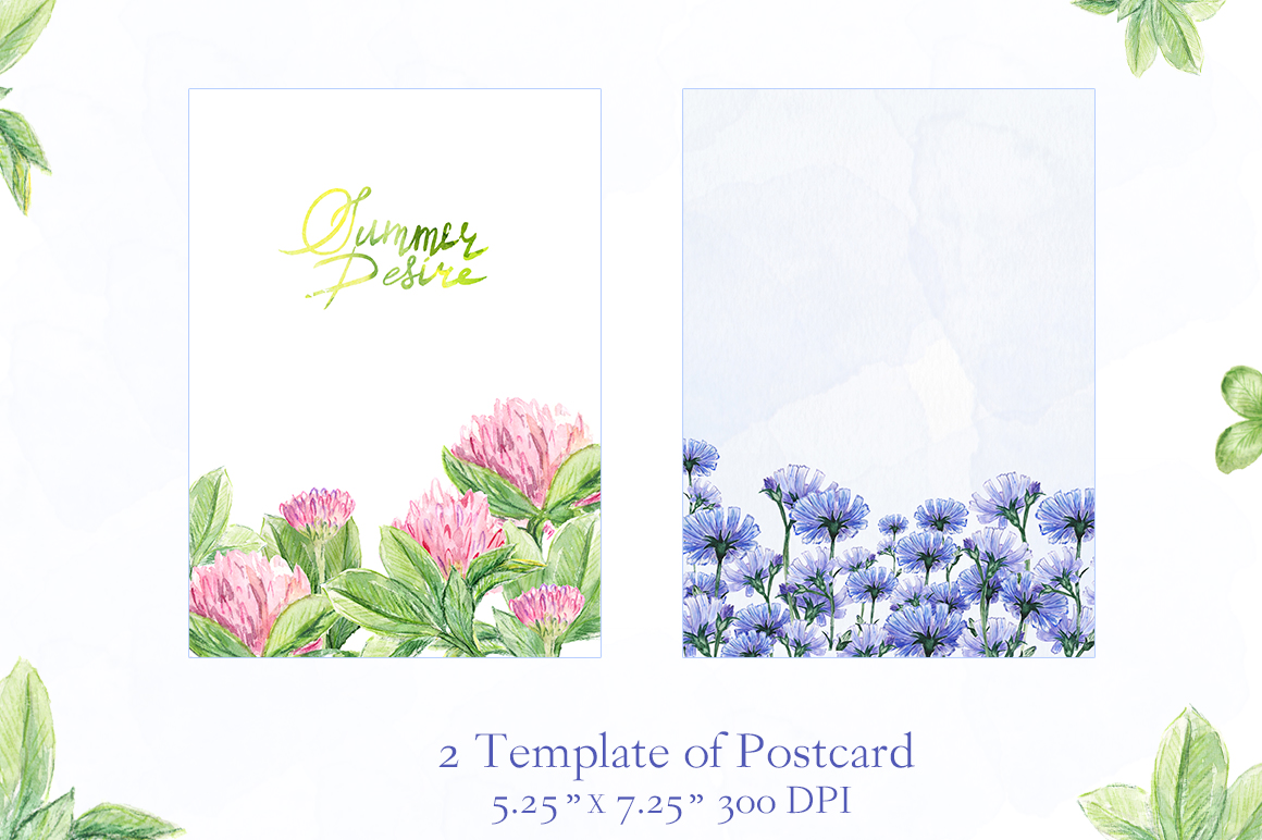 Watercolor collection of summer flowers example image 6