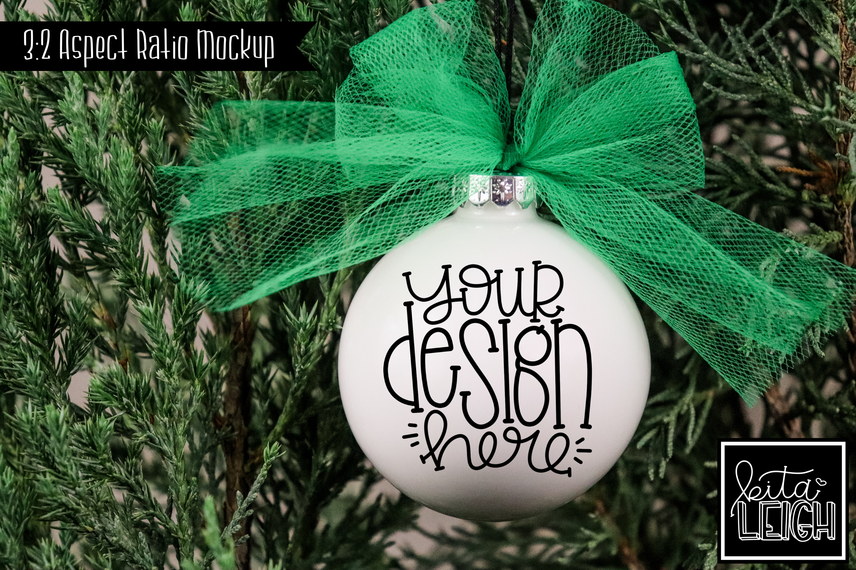 Green Tulle Round Ornament Mockup example image 1