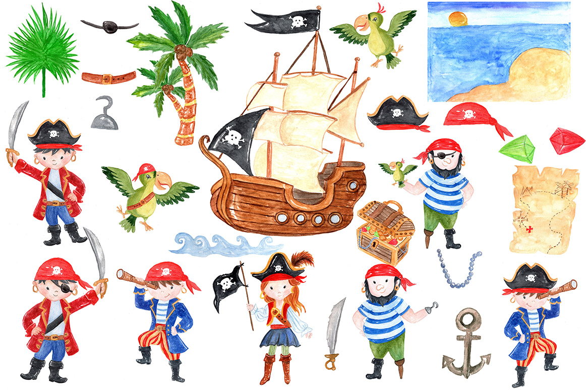 Pirate kids clipart example image 2