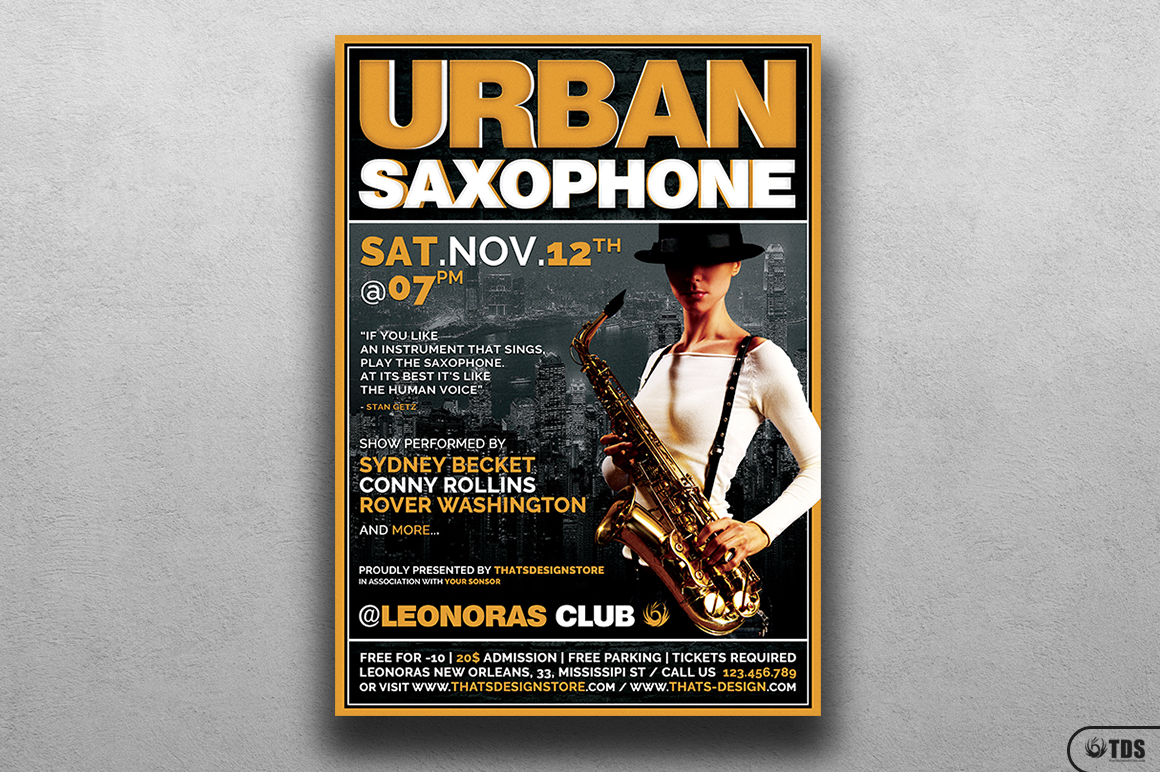 Urban Sax Flyer Template example image 1