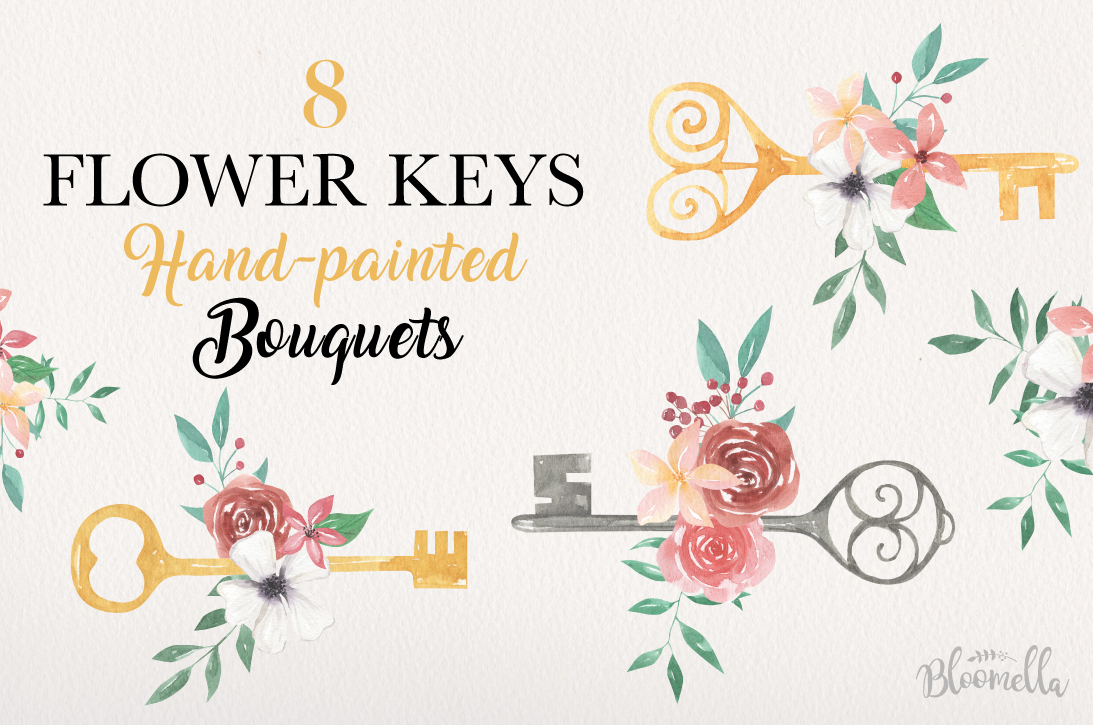 Flowers 8 Keys Bouquets Watercolor Floral Blooms Pretty example image 1