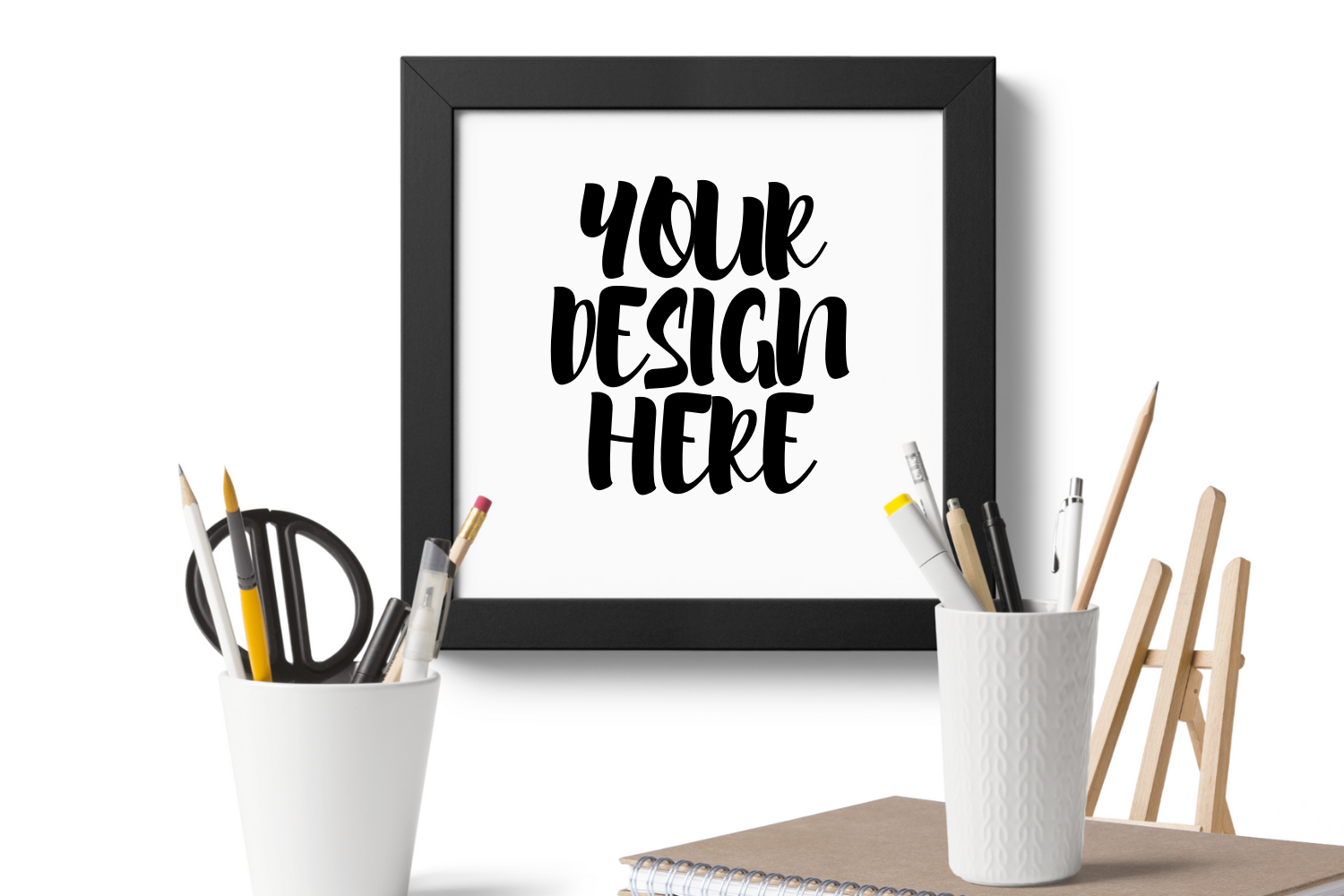 Wooden Square Frame Mockup With Stationary Scene example image 1