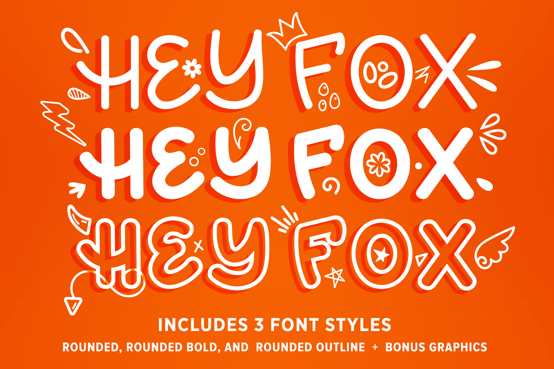 Hey Fox Rounded Font Trio example image 1