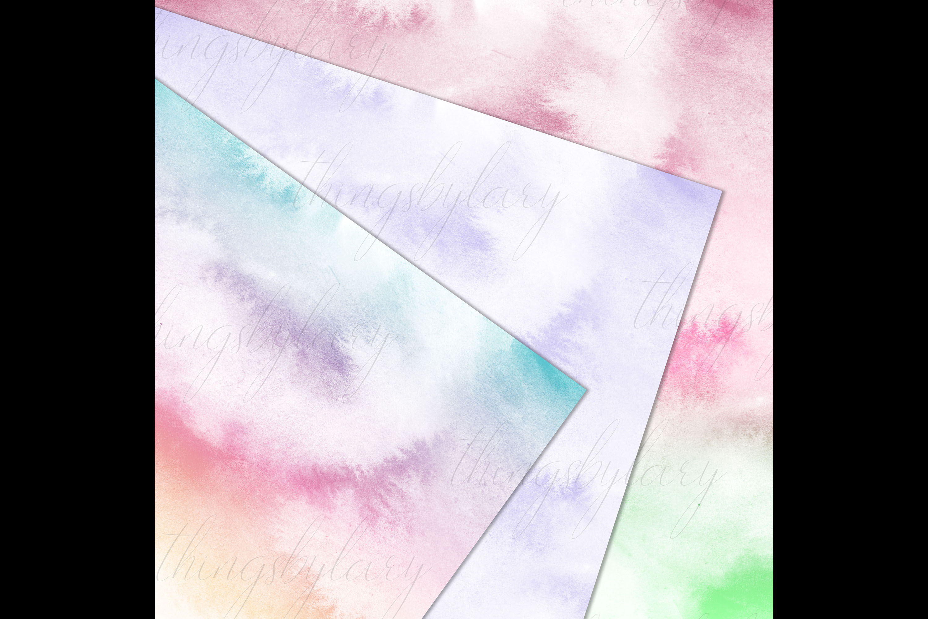 30 Watercolor Fairy Tale Cloudy Sky Baby Shower Paper Images example image 6