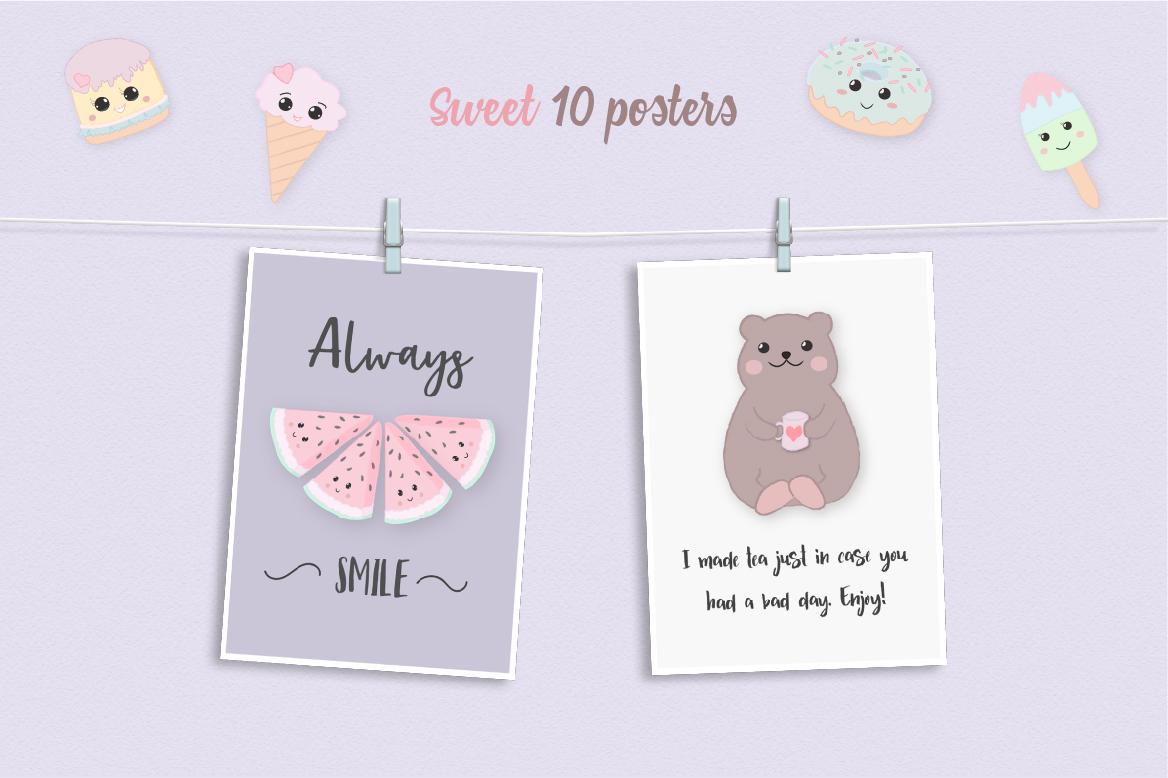 Sweet Kawaii Cute Cake Illustration Clipart Set example image 3