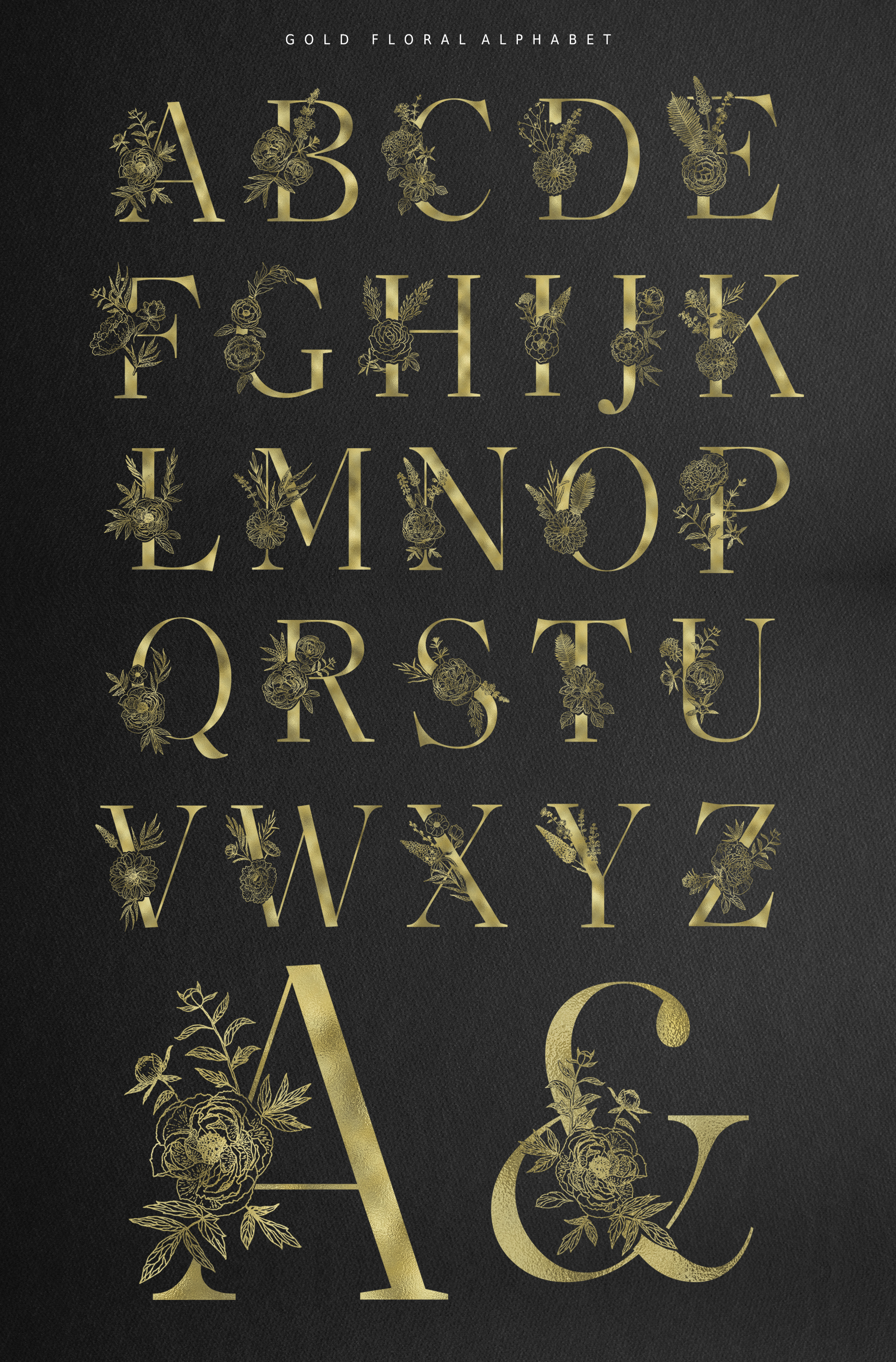 Floral Alphabets Collection. example image 20