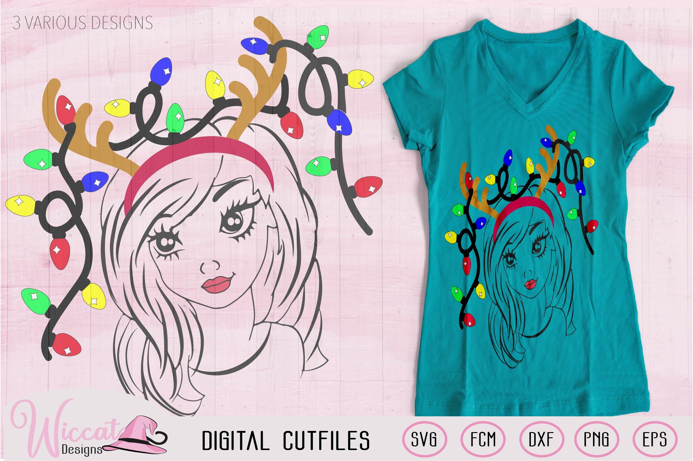 Christmas lights svg, Girl face svg, Line art girl, antlers example image 2