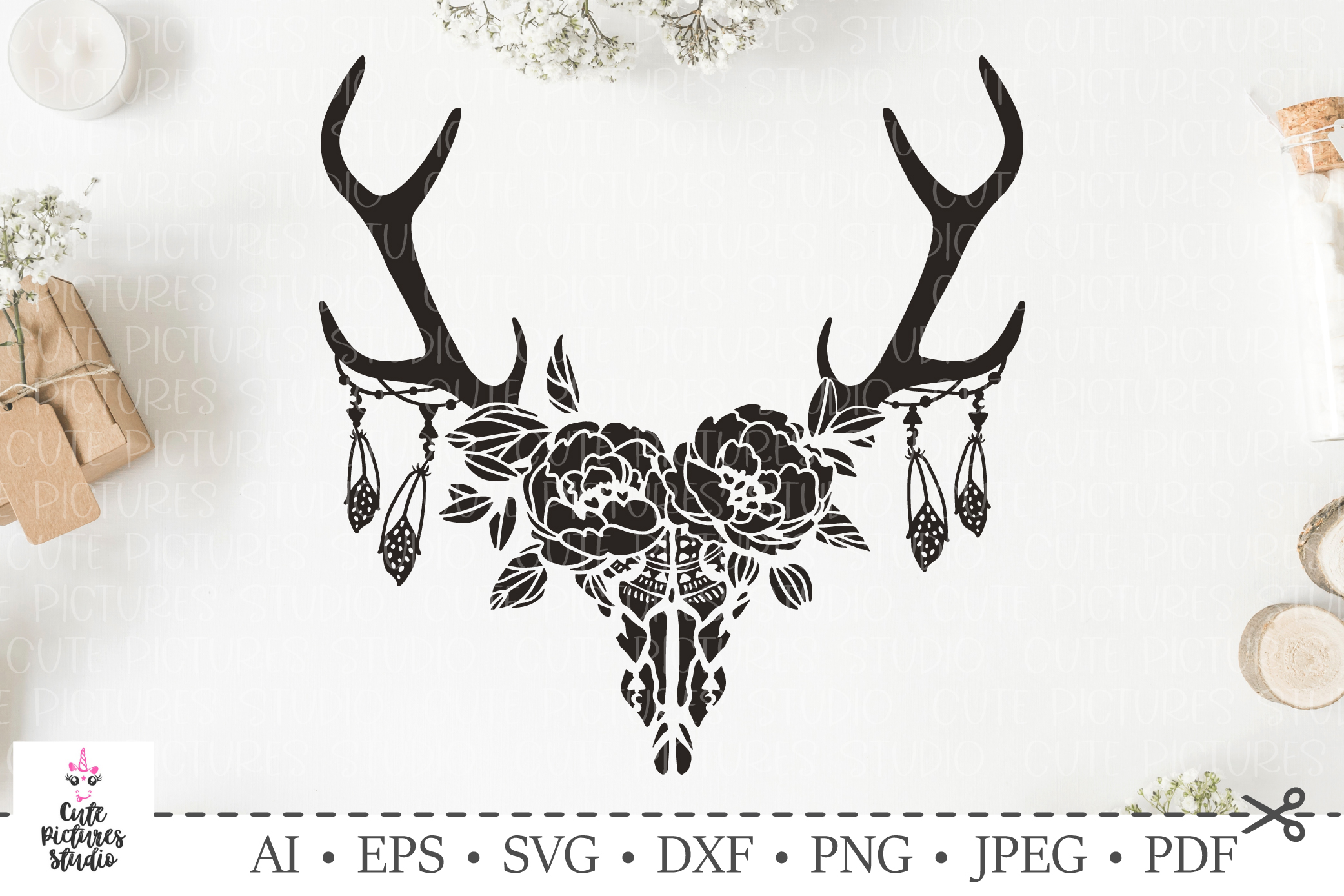 Skull of deer with a wreath of flowers and leaves. SVG cut. example image 1