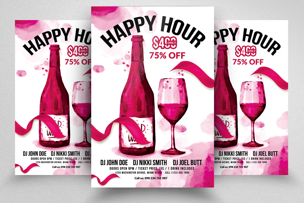 10 Happy Hour Flyer Template Bundle example image 4