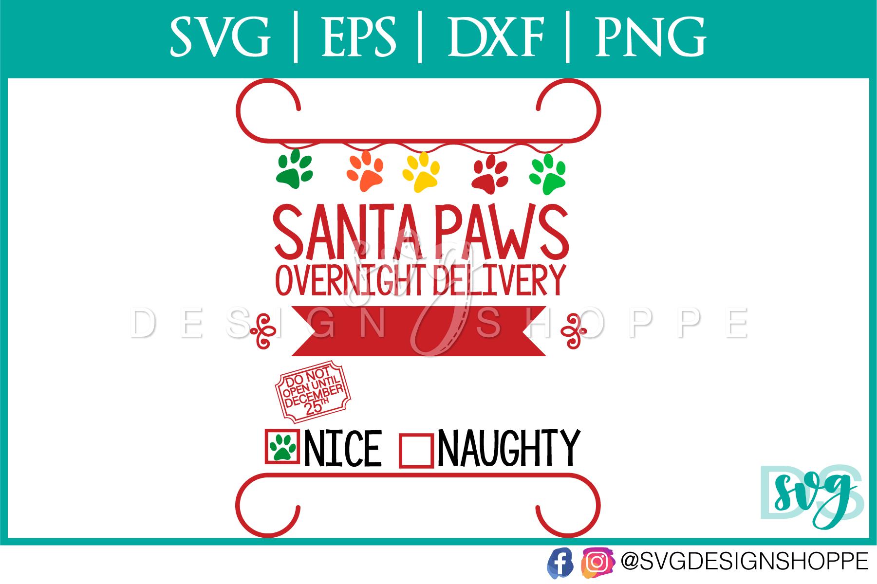 Santa Paws, SVG, Christmas, PNG, Cricut, Silhouette example image 2