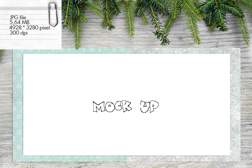 Mock up - Bleached wood and fir branches for Christmas example image 1