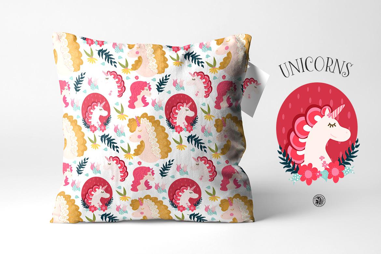 Unicorns - illustrations and patterns example image 2