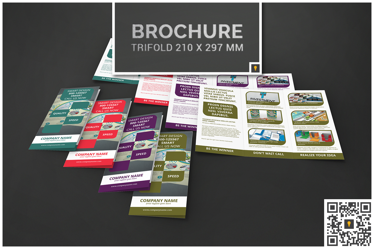 Corporate Rounded Geometric Trifold example image 1