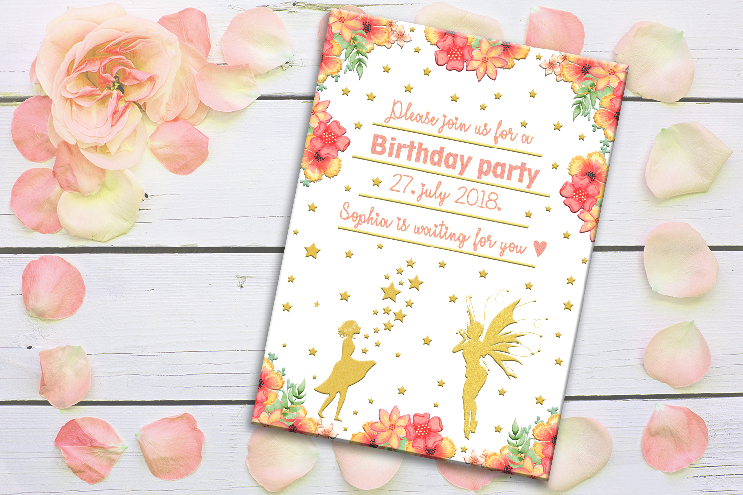 Birthday Card Party Invitation Girls SALE Example Image 1
