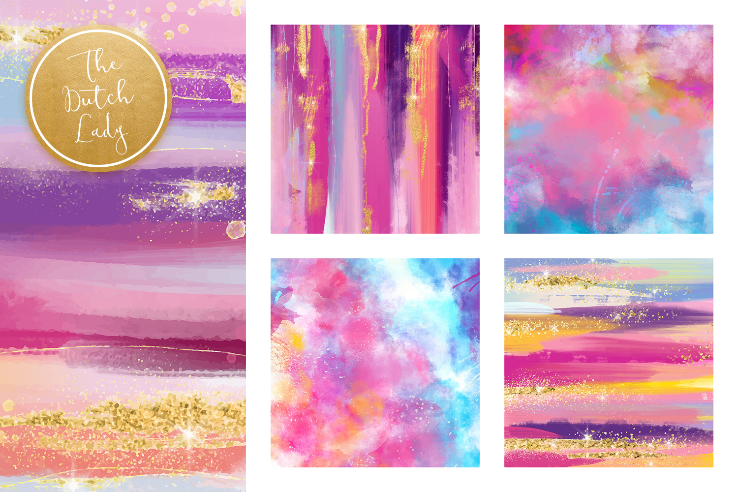 Colorful Brush Strokes & Stains Background Textures example image 3