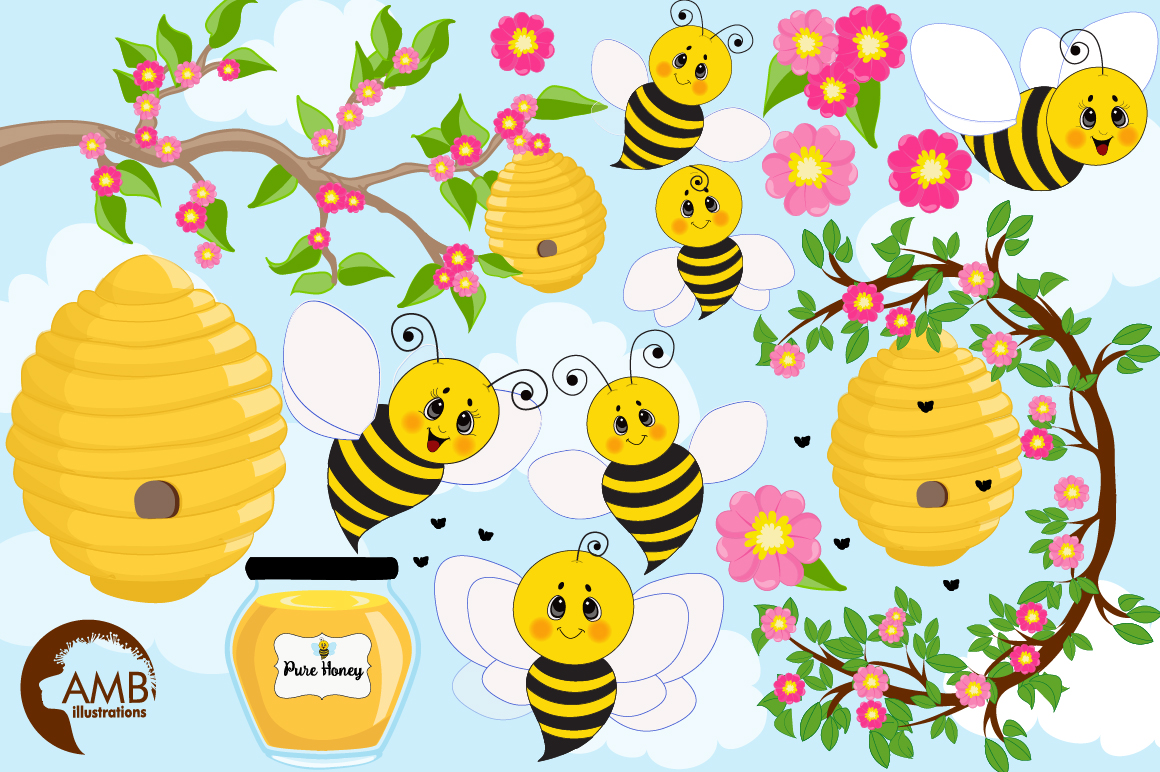 Bumble bee cliparts, Honey bee cliparts, graphics, illustrations AMB-1053 example image 5
