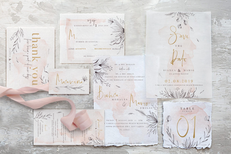 Peach & Grey Floral Wedding Suite example image 5