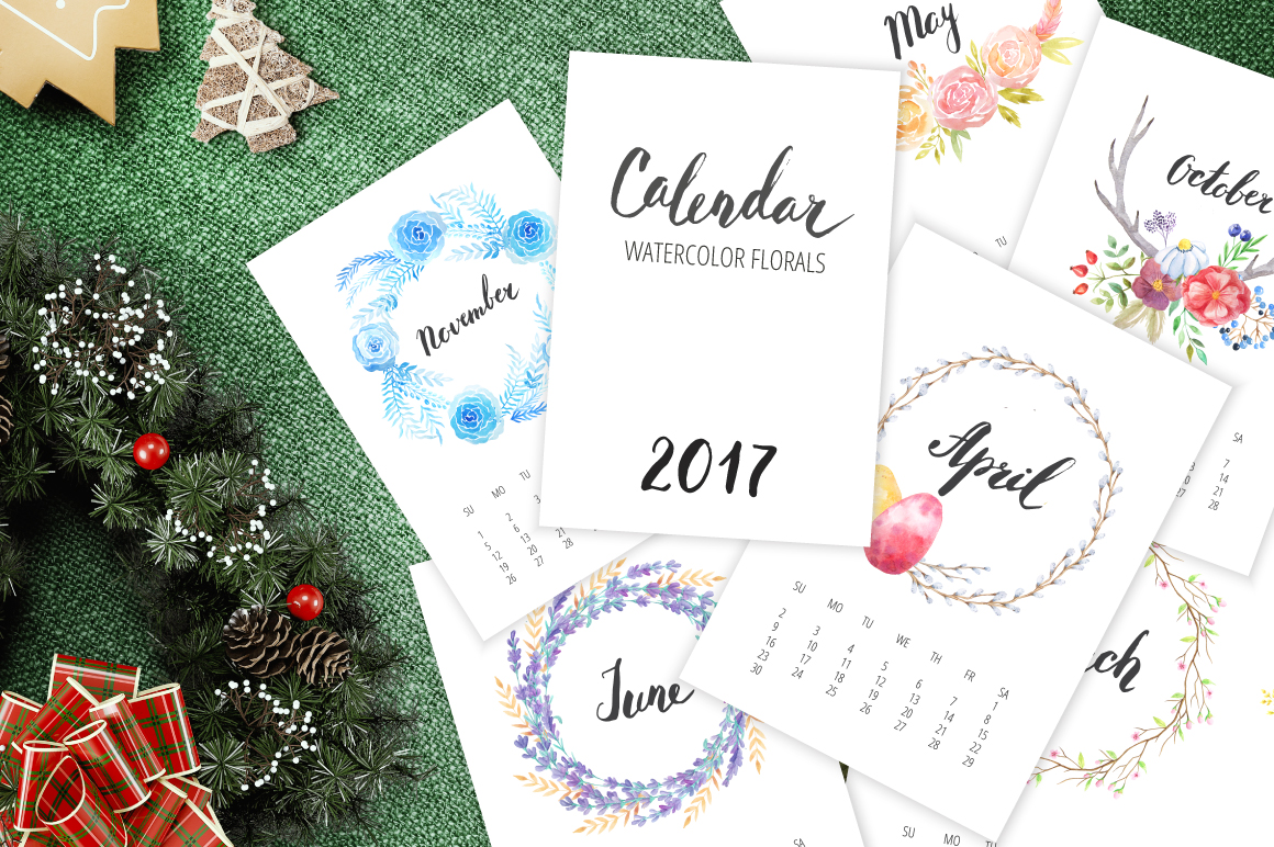 Watercolor Calendar 2017 Template example image 1