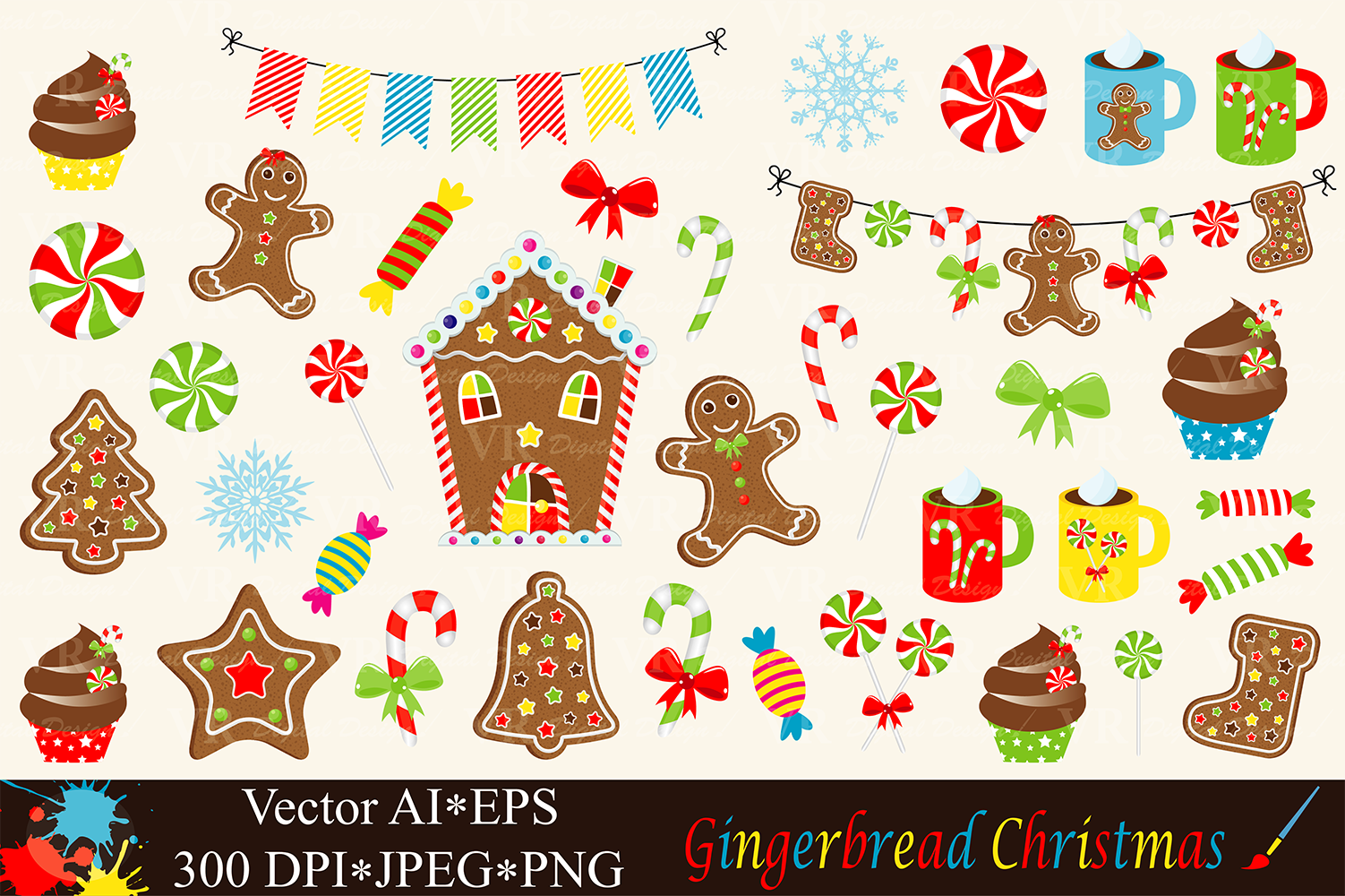 Christmas Gingerbread Clipart - Vector example image 1