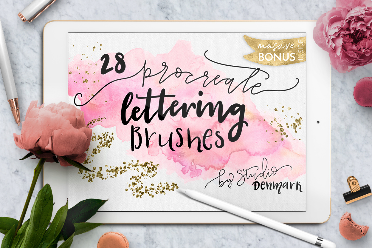 Procreate Lettering Brushes + Bonus example image 1