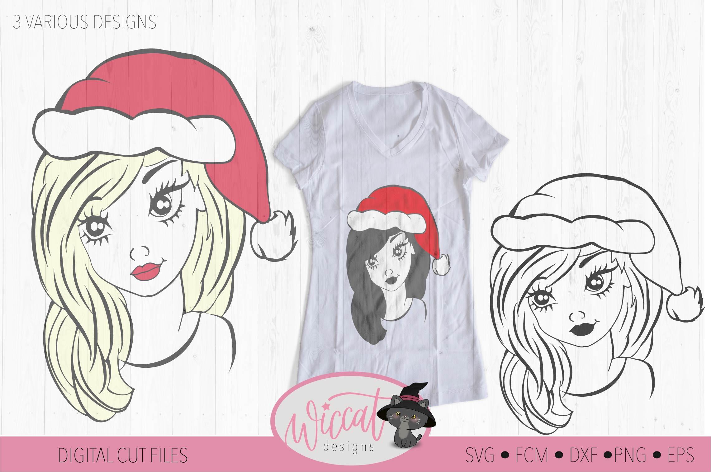 Christmas girl svg, teen svg, Christmas hat svg, example image 2