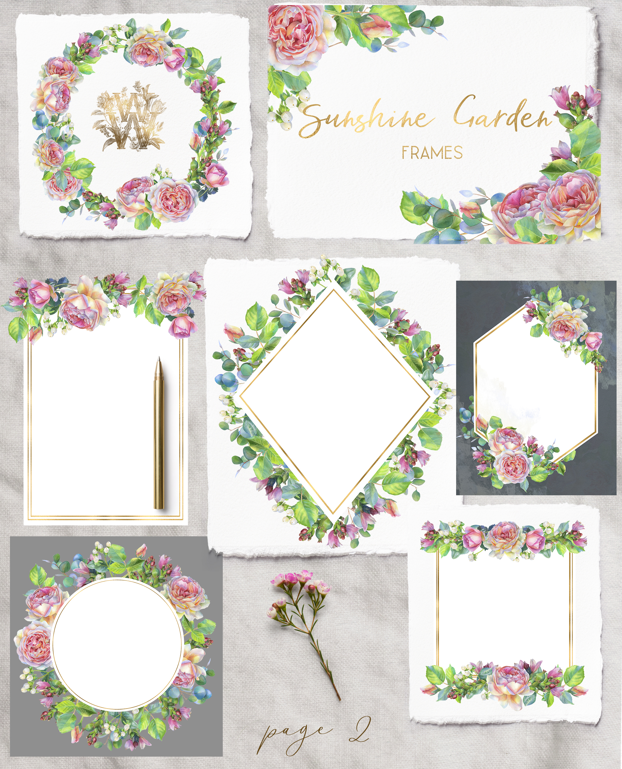 Pink rose watercolor wedding clip art, floral frame clipart example image 3