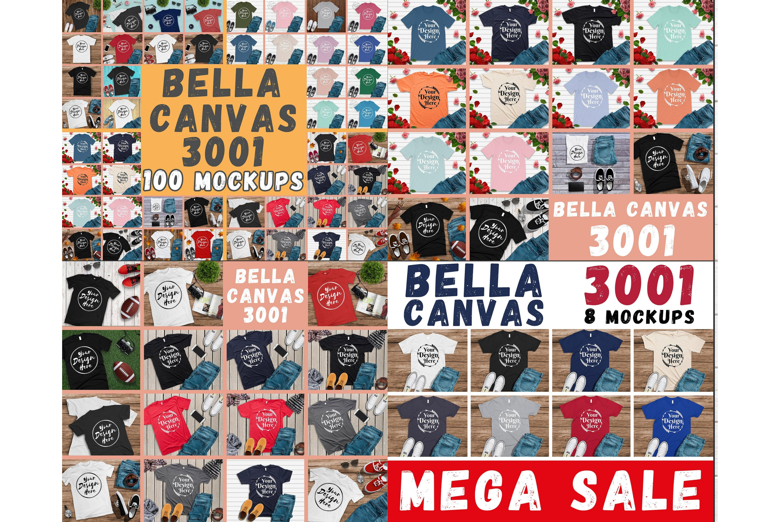 300 Mockups Bella Canvas 3001 Unisex Tshirt Flat Lay Mock Up example image 2